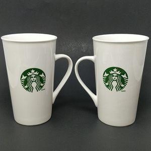 Starbucks 2014 White Green Logo Tall 18oz Mugs (2)
